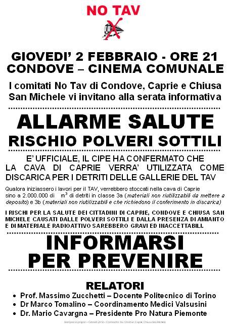 """CONDOVE """"ALLARME SALUTE"""" GIOVEDI' 2 FEBBRAIO"""