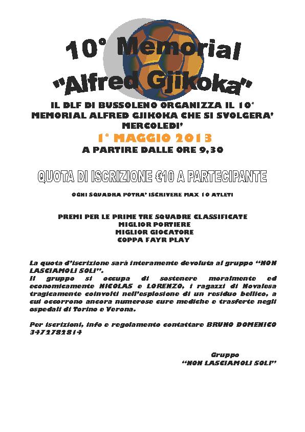 10° MEMORIAL ALFRED GJIKOKA per Nicolas e Lorenzo.