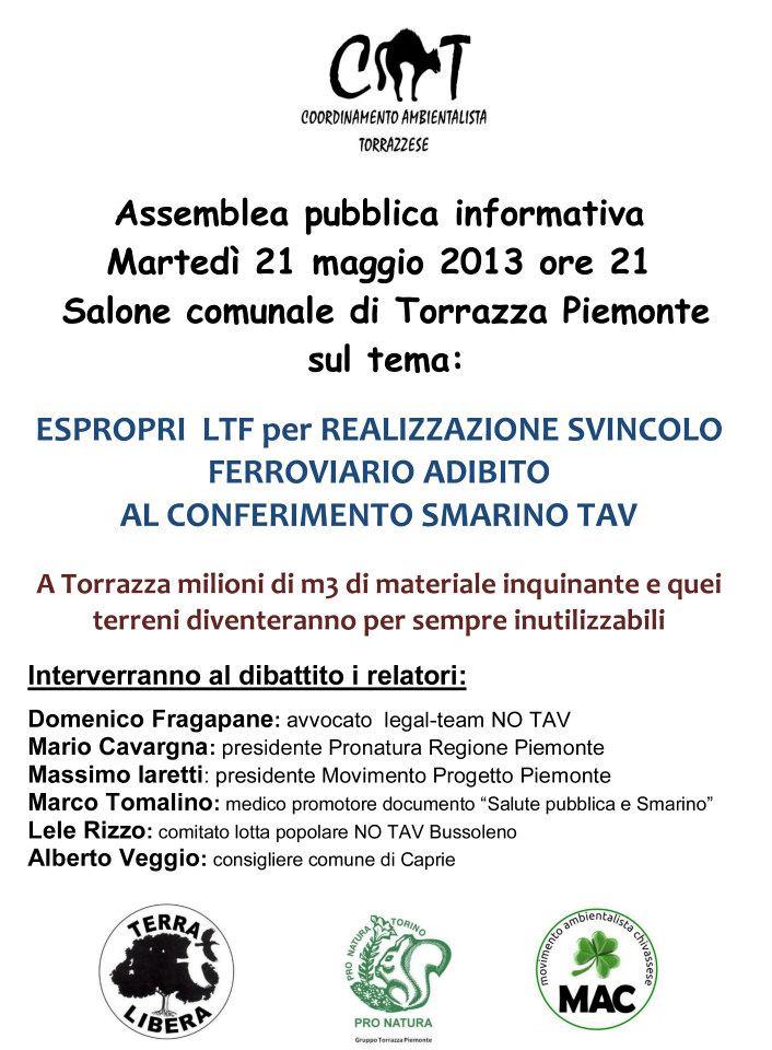 21/5 Torrazza Piemonte dibattito sugli espropri LTF