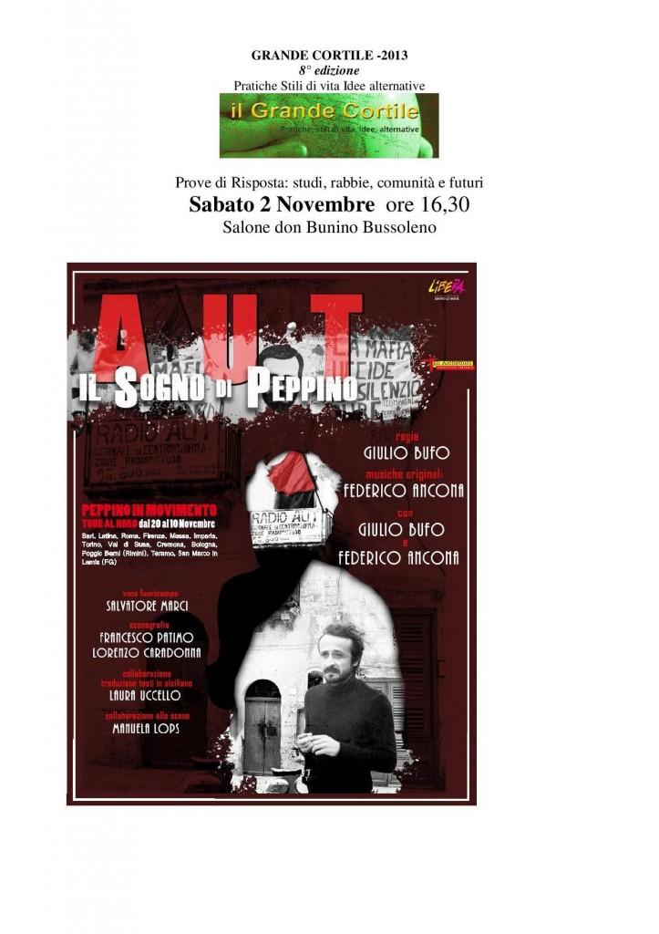 IL SOGNO DI PEPPINO Sabato 2 novembre ore 16.30 Bussoleno Teatro Don Bunino