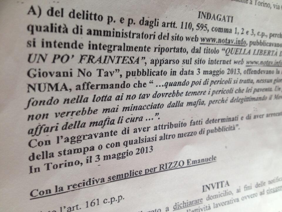 Massimo Numa querela notav.info