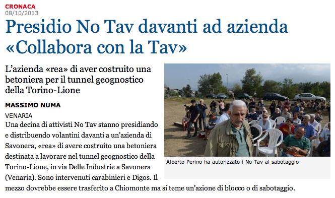 """il volantinaggio diviene pericoloso e si temono """"Sabotaggi""""… per Lastampa.it e Massimo Numa"""