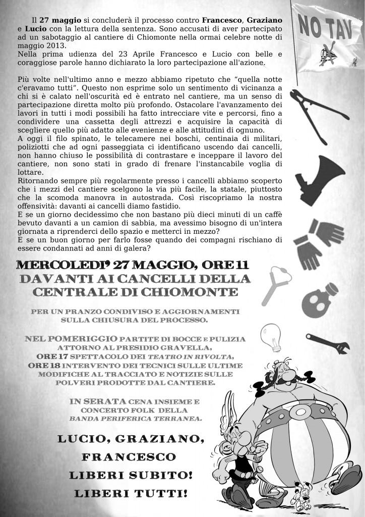 27/5 davanti ai cancelli della centrale di Chiomonte. Liberi tutti!