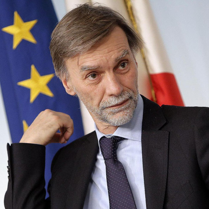 Il sottosegretario alla presidenza del Consiglio Graziano Delrio, durante la conferenza stampa al termine del Consiglio dei Ministri, Roma, 28 febbraio 2014. ANSA/ GIUSEPPE LAMI
