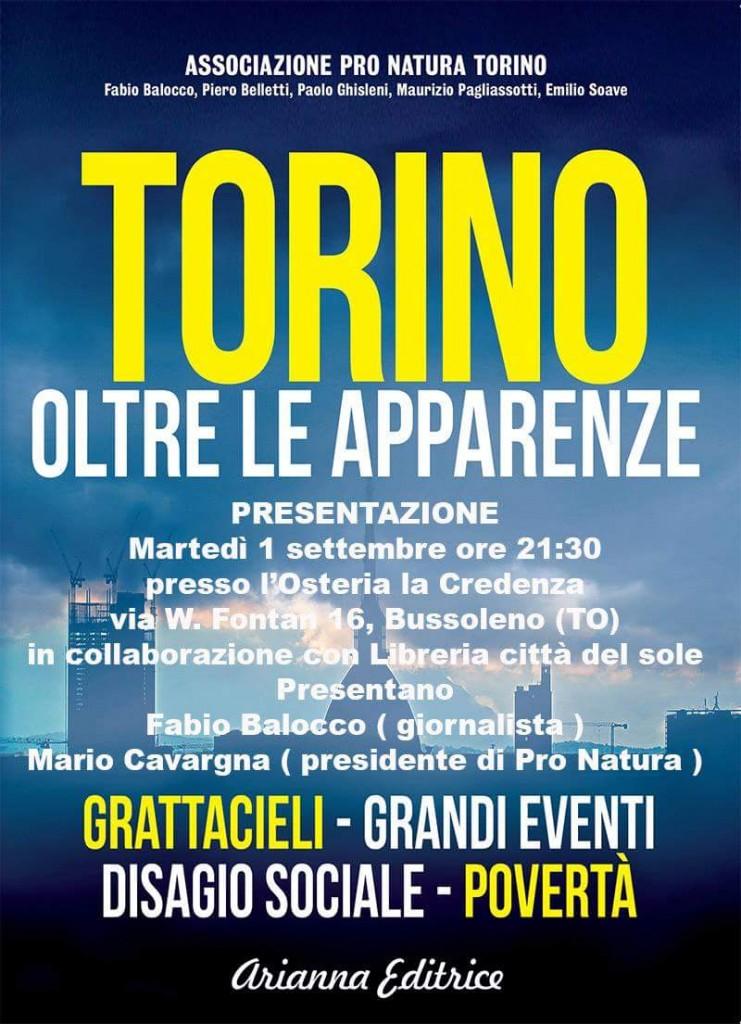 """In Credenza, mart 1/09 presentazione libro """"Torino oltre le apparenze"""""""