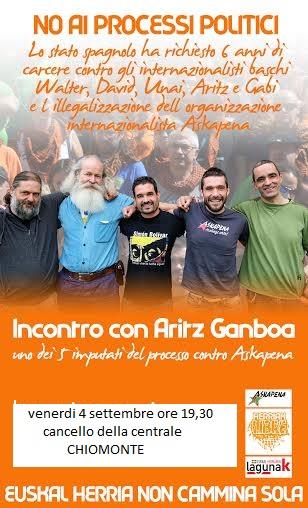 Venerdì 4/09, incontro con Aritz Gamboa all'apericena No Tav