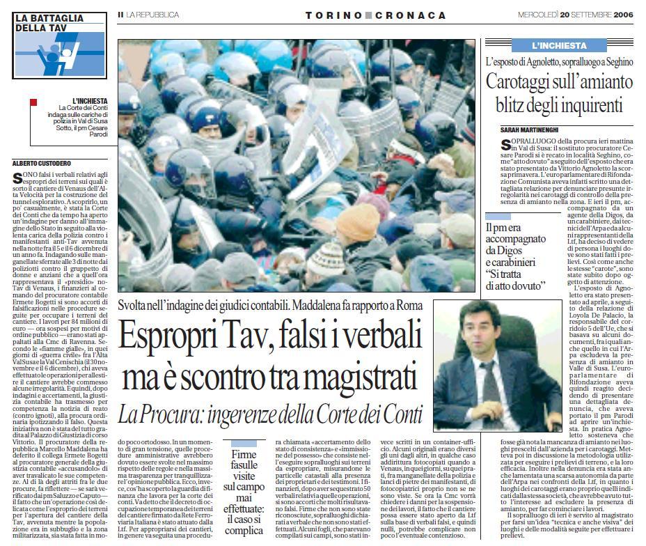 repubblica 20.9.2006 scontro magistrati