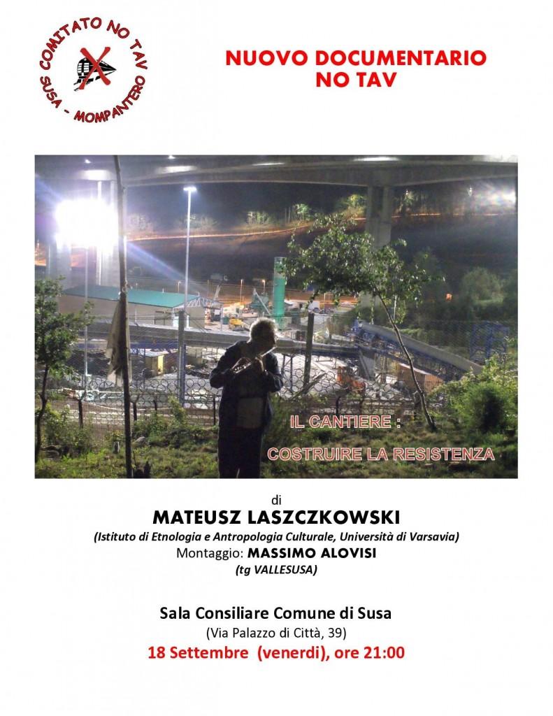 """Susa, 18/09 proiezione """"Il cantiere: costruire la resistenza"""""""