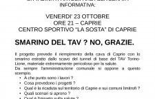 Venerdì 23-10 Caprie valsusa il comune e i cittadini in assemblea contro smarino tav