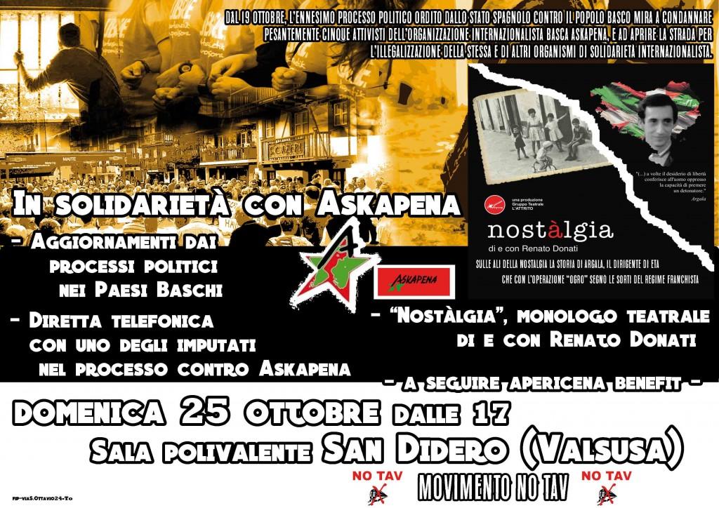 Domenica 25/10 a San Didero in solidarietà con Askapena