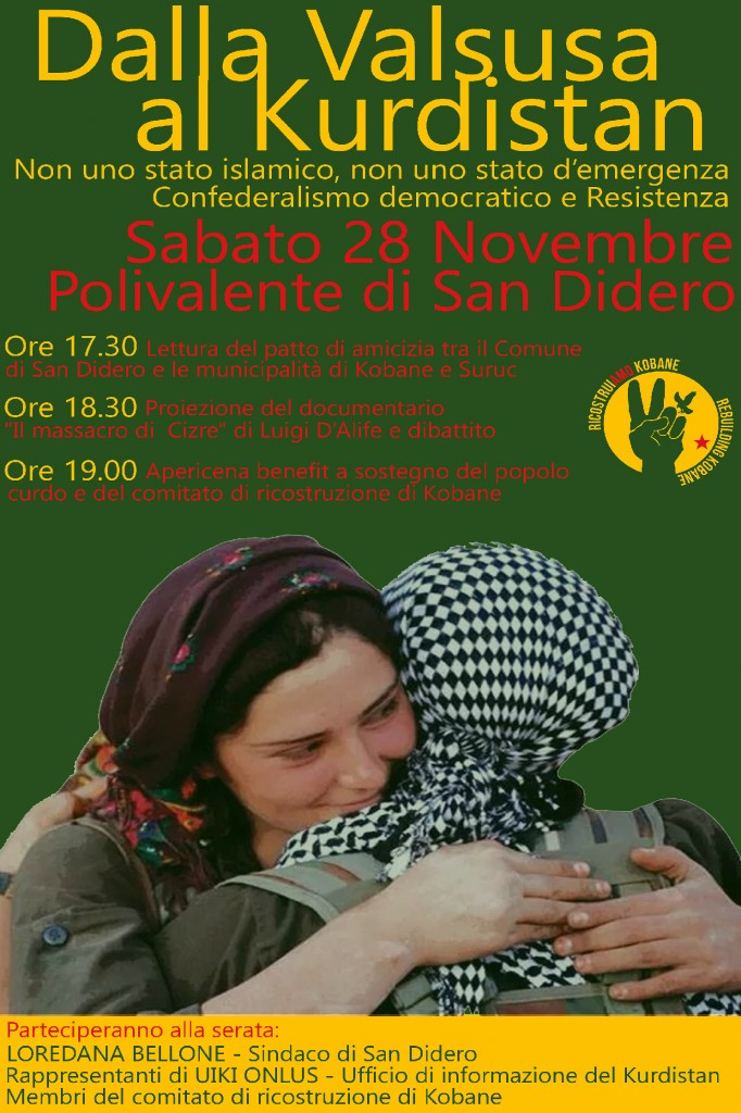 Sab 29/11, Dalla Valsusa al Kurdistan -Confederalismo democratico e resistenza