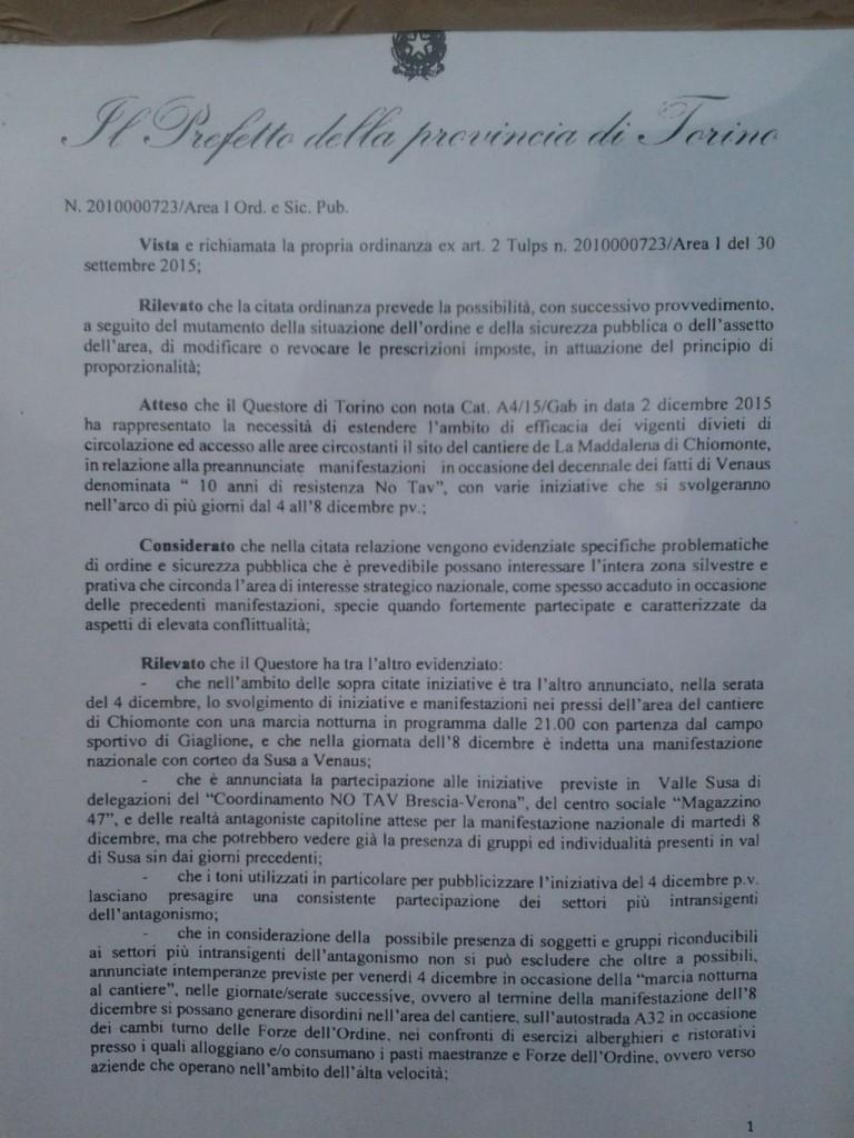 8 dicembre il Prefetto decreta l'interdizione al cantiere di Chiomonte