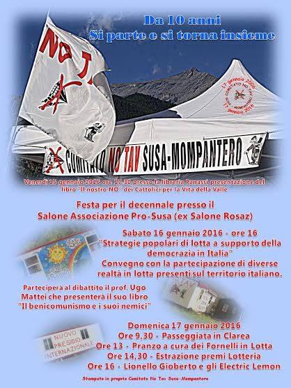 16/17 gennaio: Decennale del Comitato No TAV Susa-Mompantero
