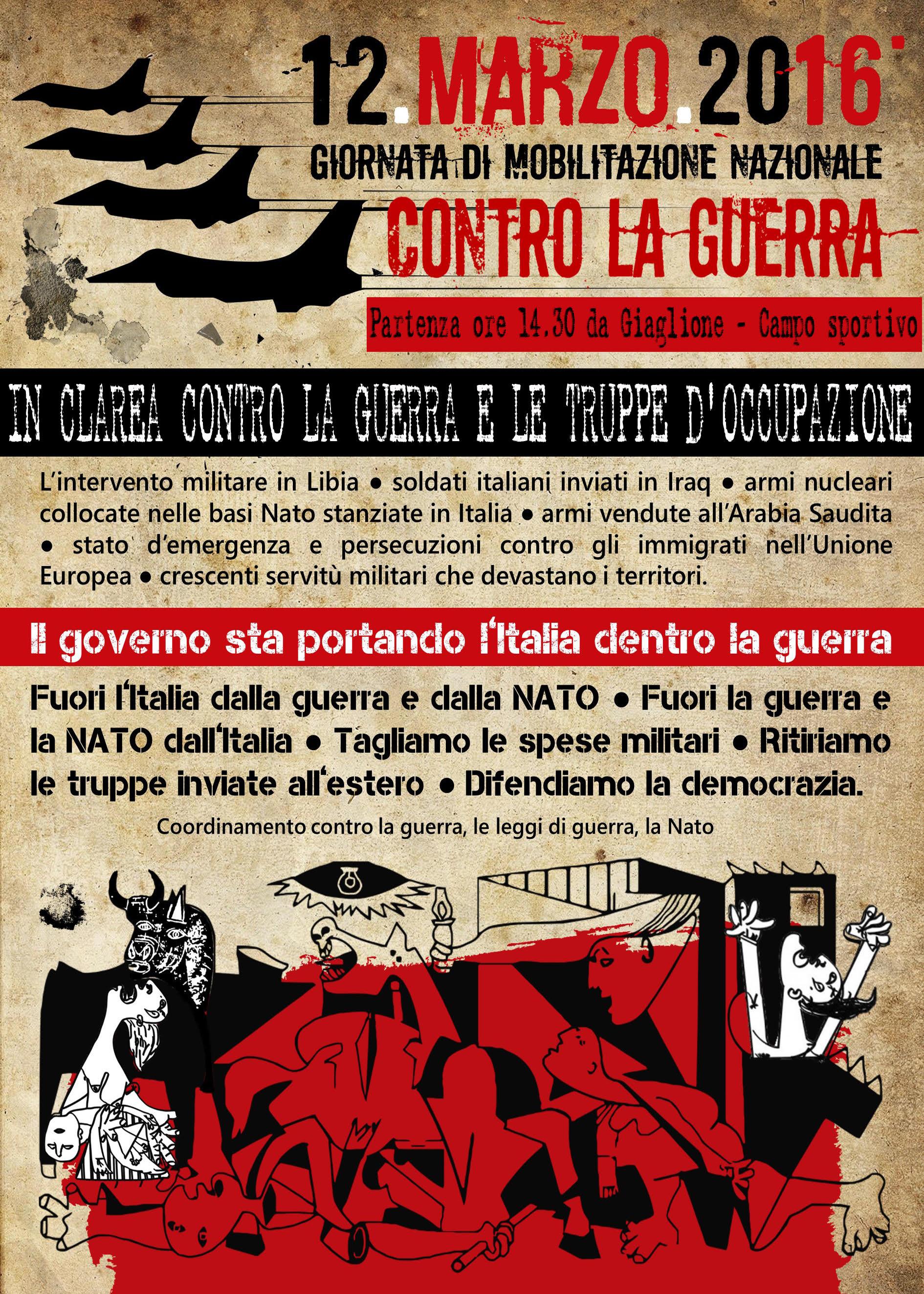 Sab 12/03, in Clarea contro la guerra e le truppe di occupazione