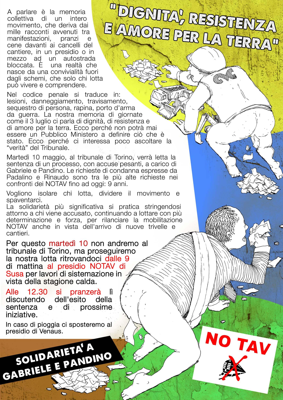 Mart 10/05, presidio a Susa in solidarietà a Gabriele e Pandino!