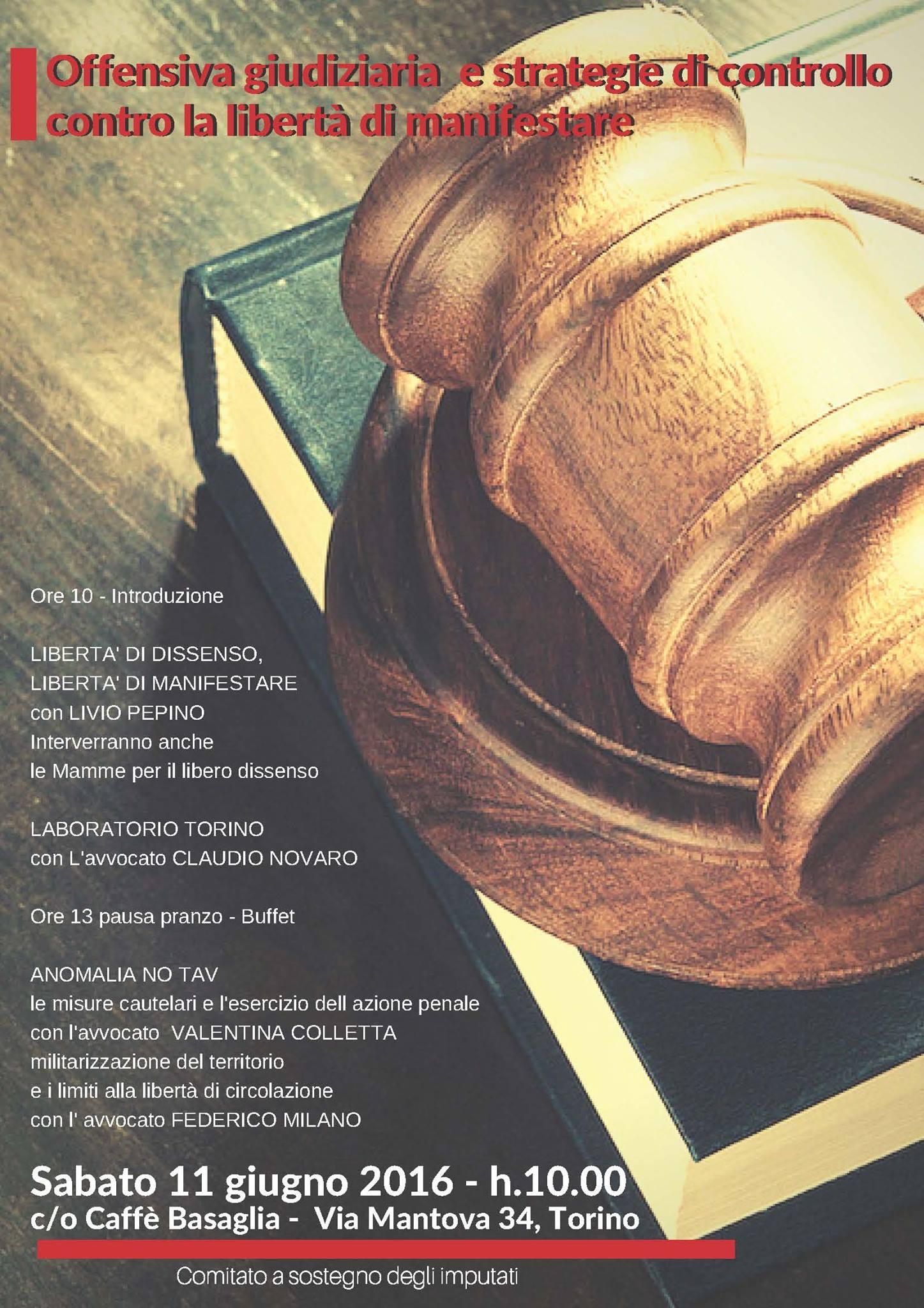 Offensiva giudiziaria e strategie di controllo contro la libertà di manifestare (PROGRAMMA)