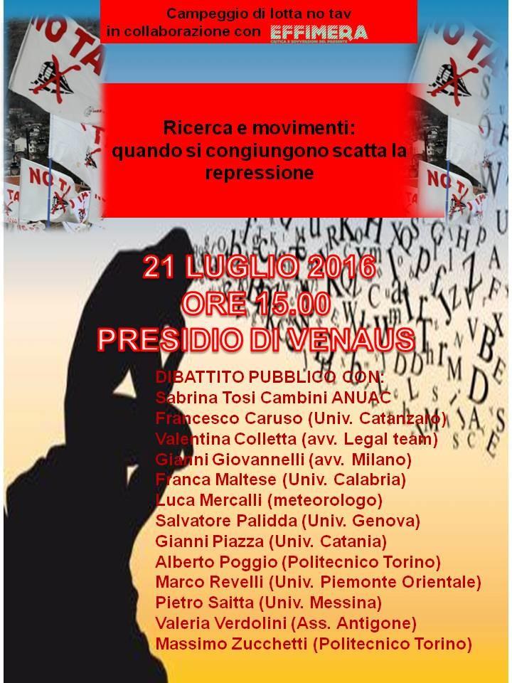 21/07, Dibattito ricerca e movimenti a Venaus
