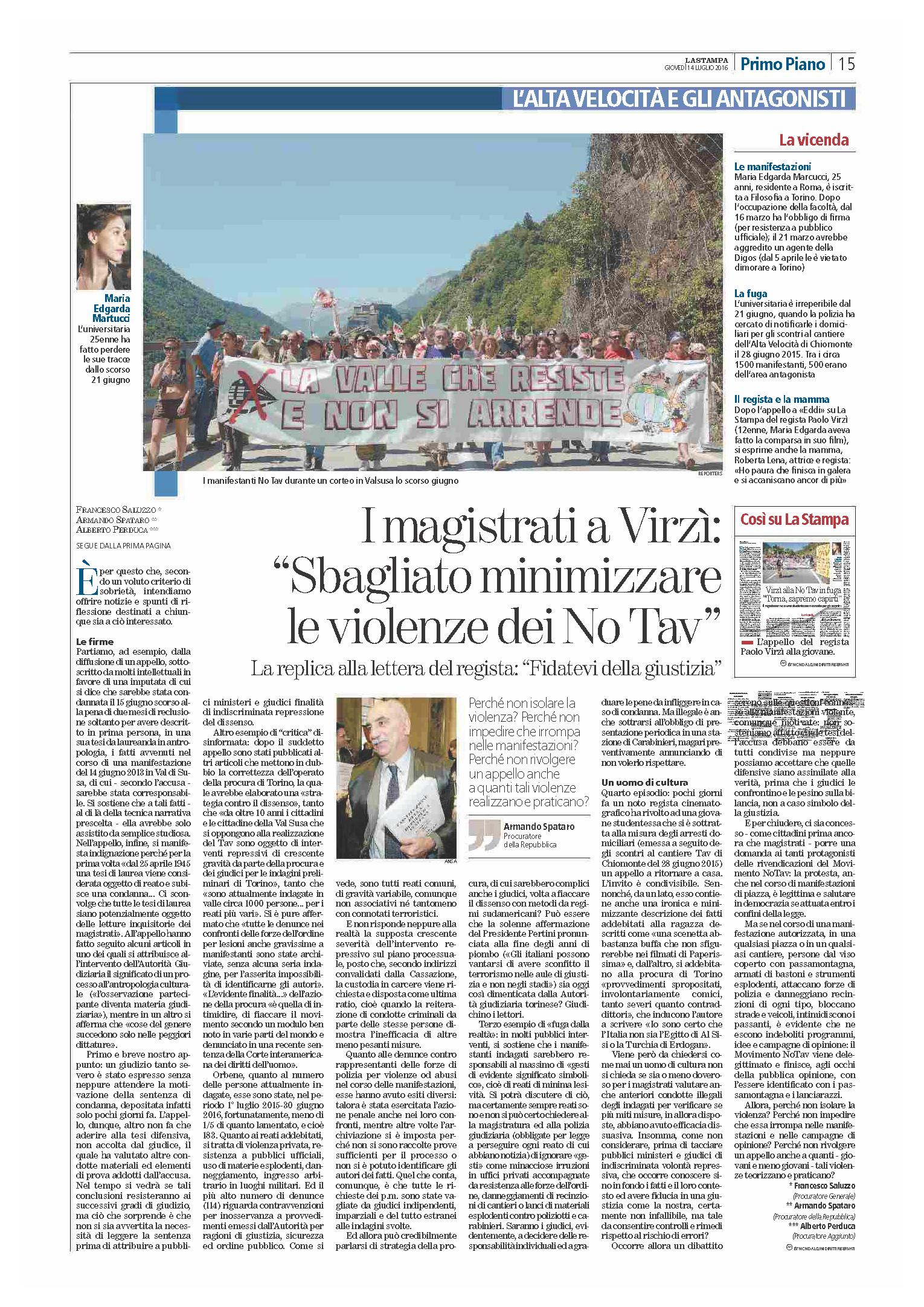 La Stampa - 14 Luglio 2016_controvirzi