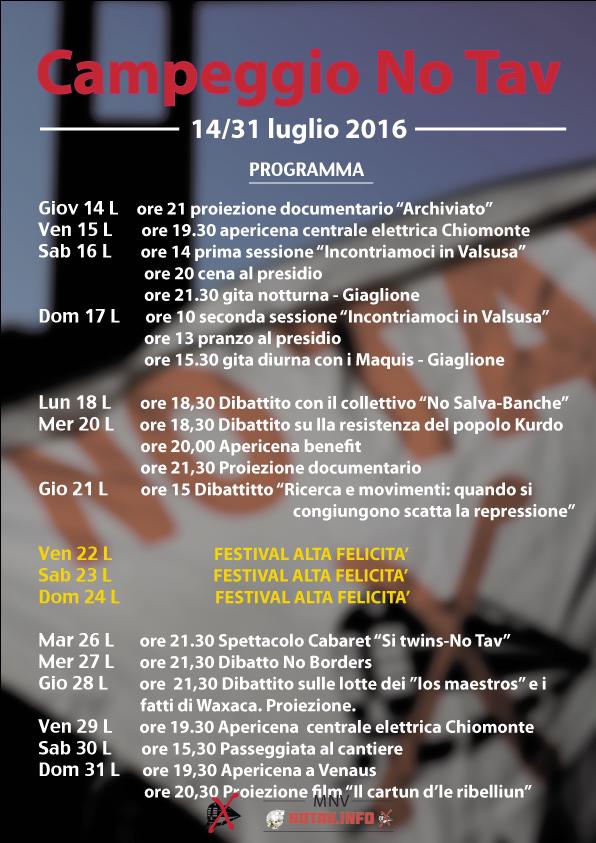 Campeggio No Tav, 14/31 Luglio. Programma