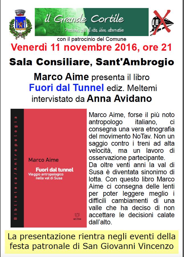 Stasera Marco Aime presenta Fuori dal Tunnel a Sant'Ambrogio