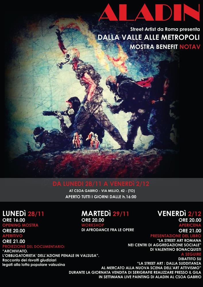 """Torino, """"Dalla valle alla metropoli"""" mostra benefit NO TAV"""