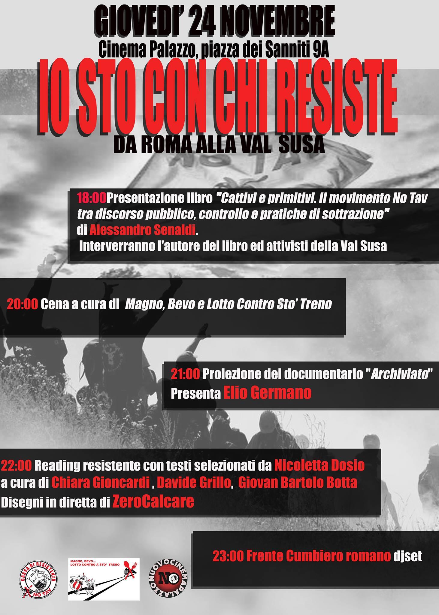 Roma, giovedì 24/11. Serata No Tav al Cinema Palazzo (VIDEO)