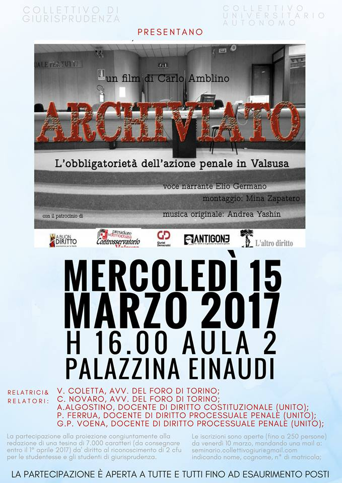 15/3 h.16 Proiezione di Archiviato al campus Einaudi