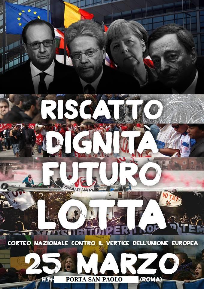 A Roma il 25/03 contro il vertice della Ue