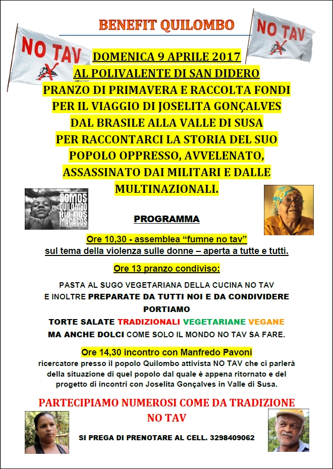 9/4 PRANZO DI PRIMAVERA = BENEFIT QUILOMBO