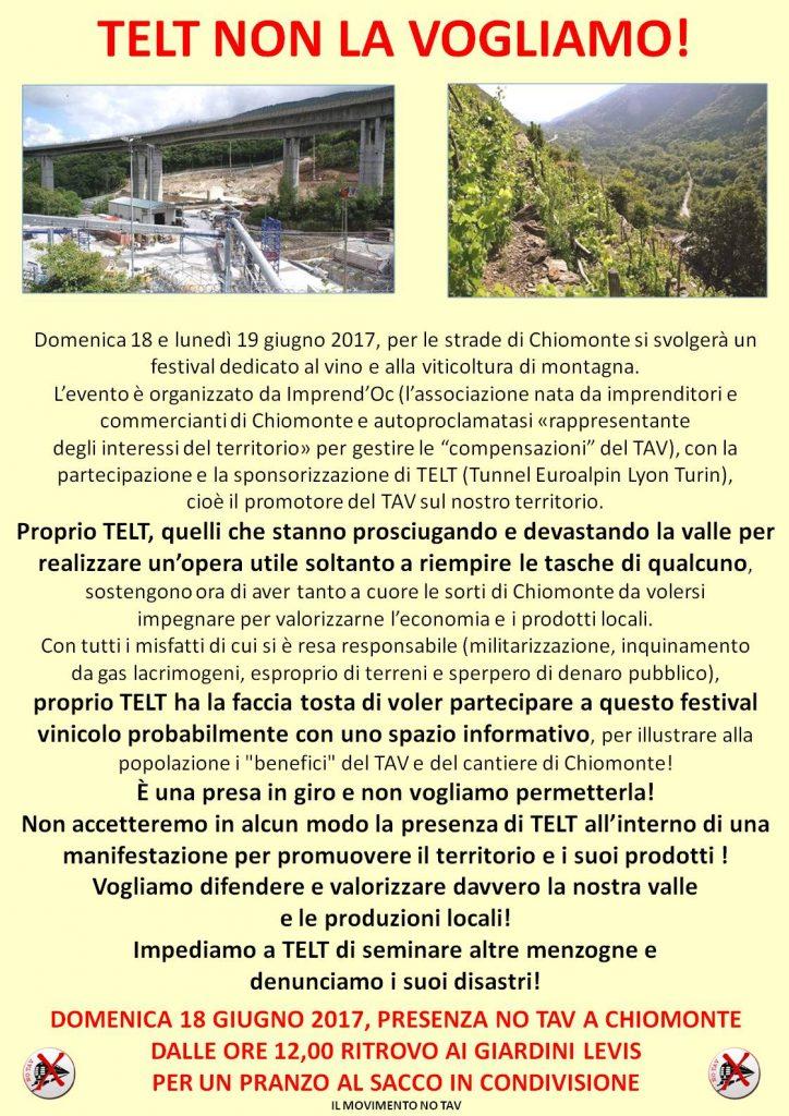 Telt non la vogliamo! 18/06 h. 12 Chiomonte, Giardini Levis