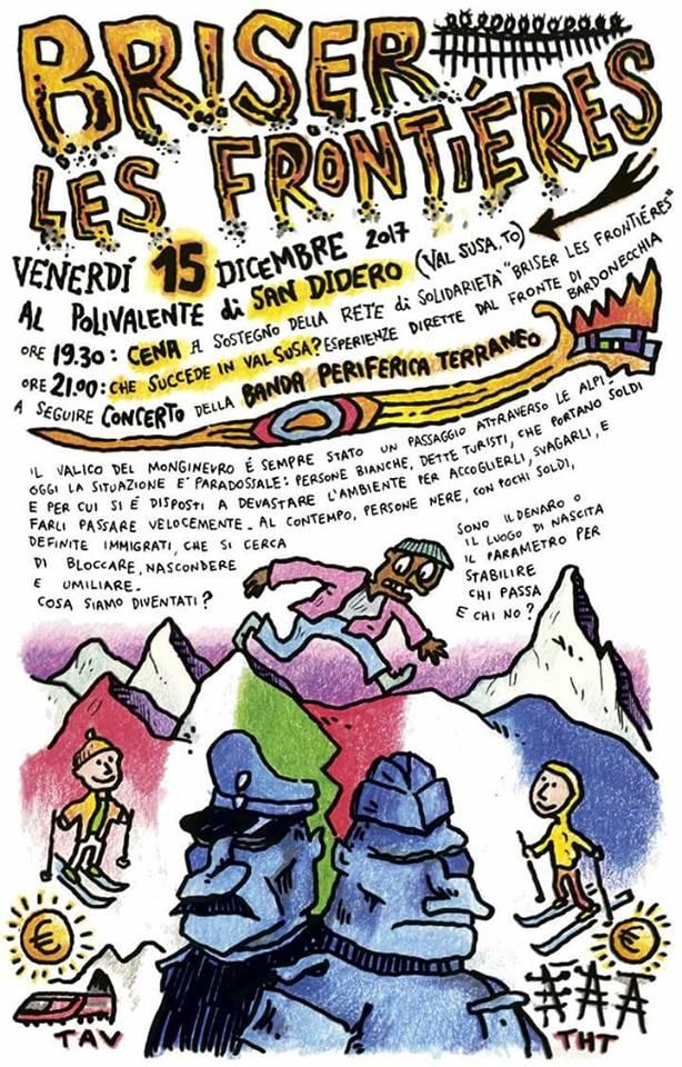 Venerdì 15/12 Polivalente di San Didero. Cena a sostegno della rete di solidarietà Briser Les Frontieres.