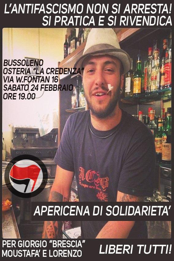 Aperitivo per Giorgio sabato 24 ore 19.00 Bussoleno La Credenza