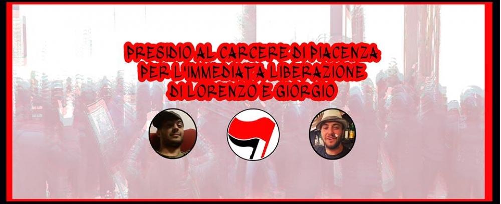 25/03 ore 15.00 Presidio al carcere di Piacenza per la liberazione di Brescia e DB