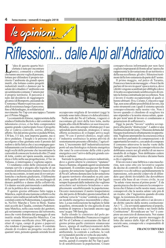 Riflessioni dalle Alpi all'Adriatico