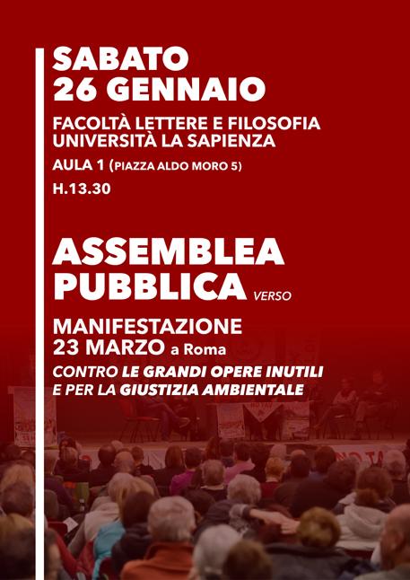 Roma 26/01, assemblea verso manifestazione 23 marzo