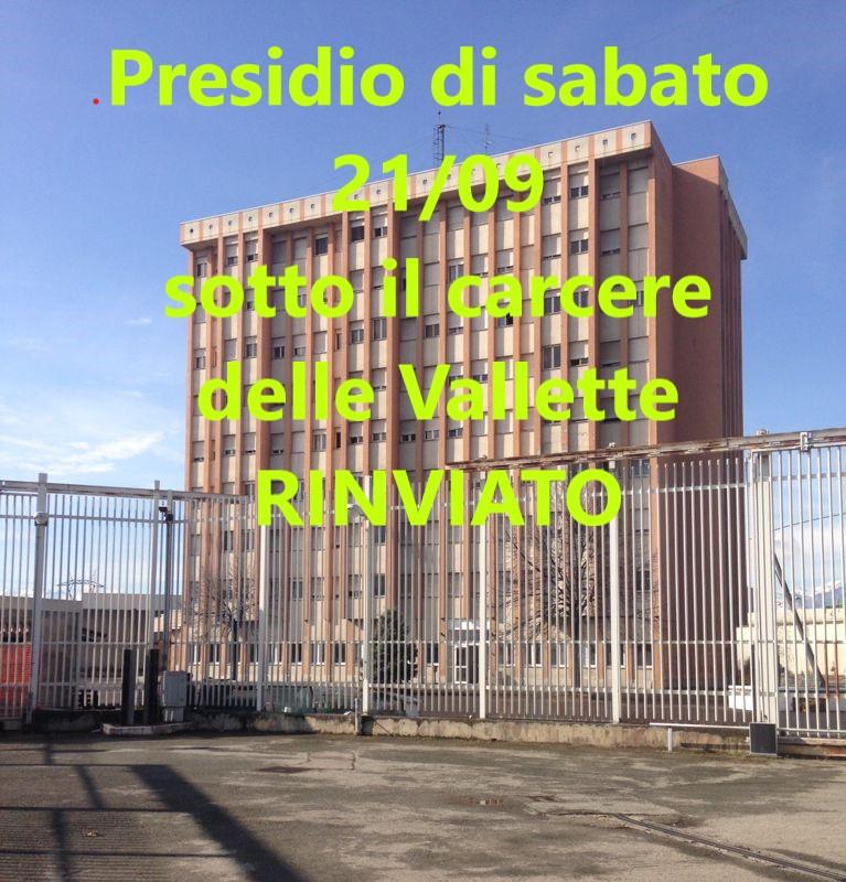 Rinviato presidio al Carcere delle Vallette di sabato 21/09