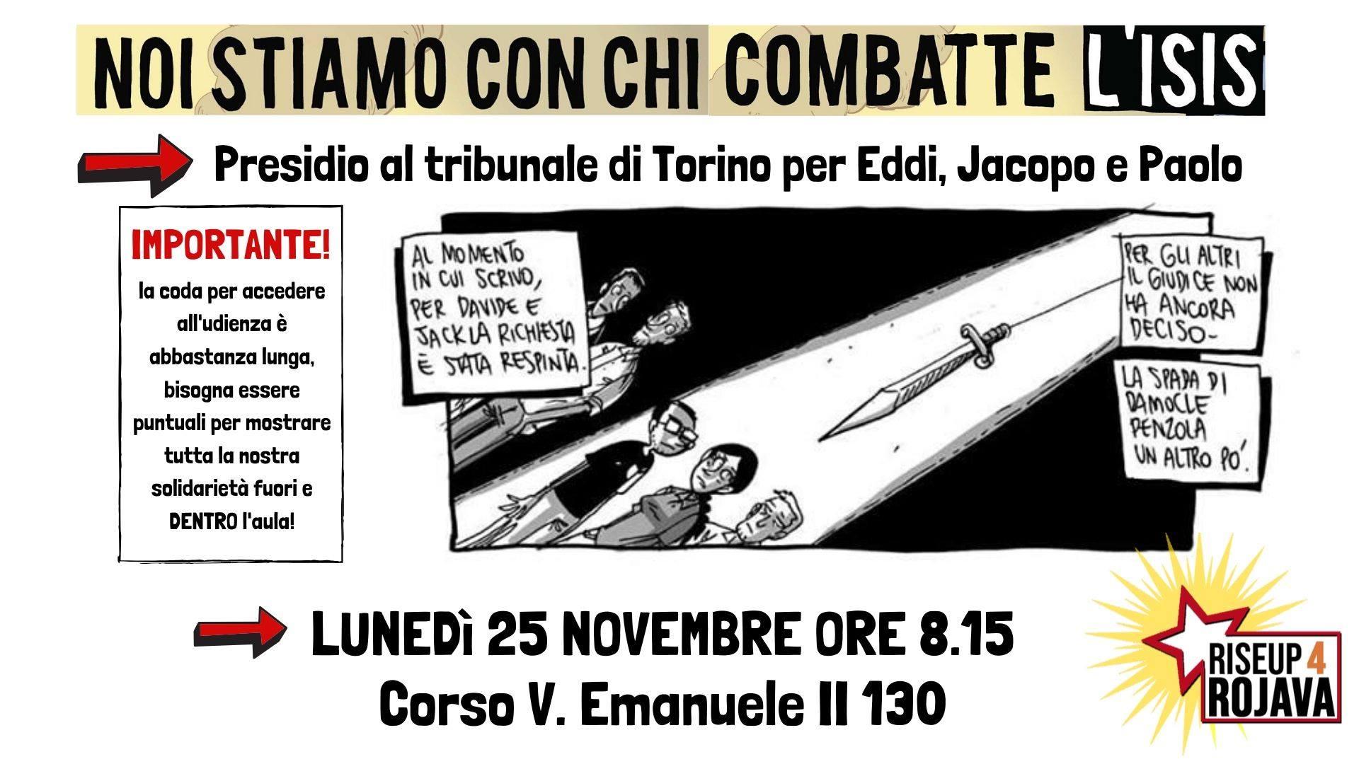 Dai No Tav solidarietà a Eddi, Jacopo e Paolo! Prossime udienze (VIDEO)