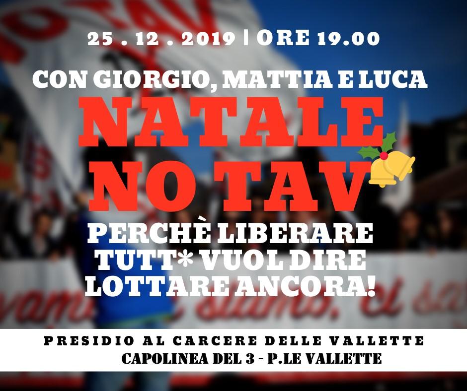 Natale No Tav con Giorgio, Mattia e Luca! Presidio sotto il carcere delle Vallette
