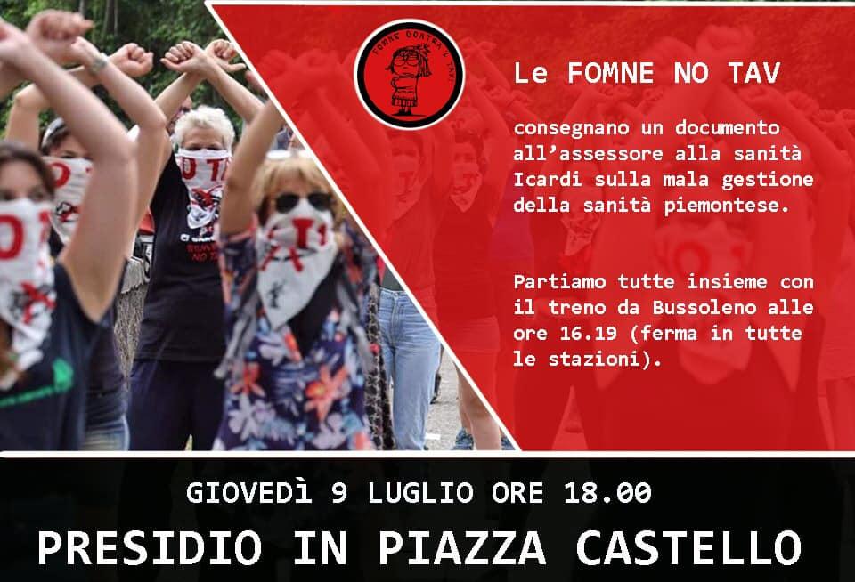 Giov 9/07, presidio Piazza Castello Fumne No Tav !
