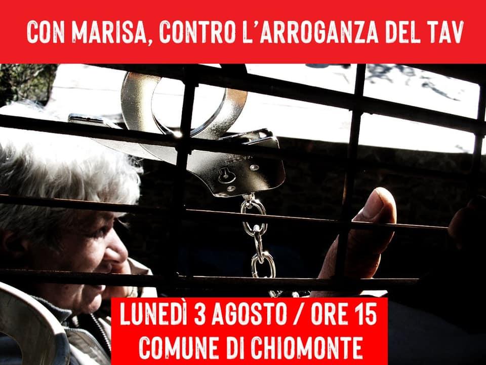 Lunedì 3/08 h 15 Chiomonte con Marisa, contro l'arroganza del Tav