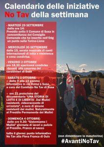 Calendario delle iniziative NO TAV della settimana