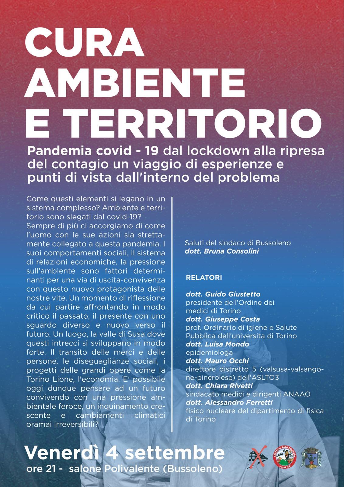 """4/09, Polivalente Bussoleno – ore 21. Incontro """"Cura, ambiente e territorio"""""""