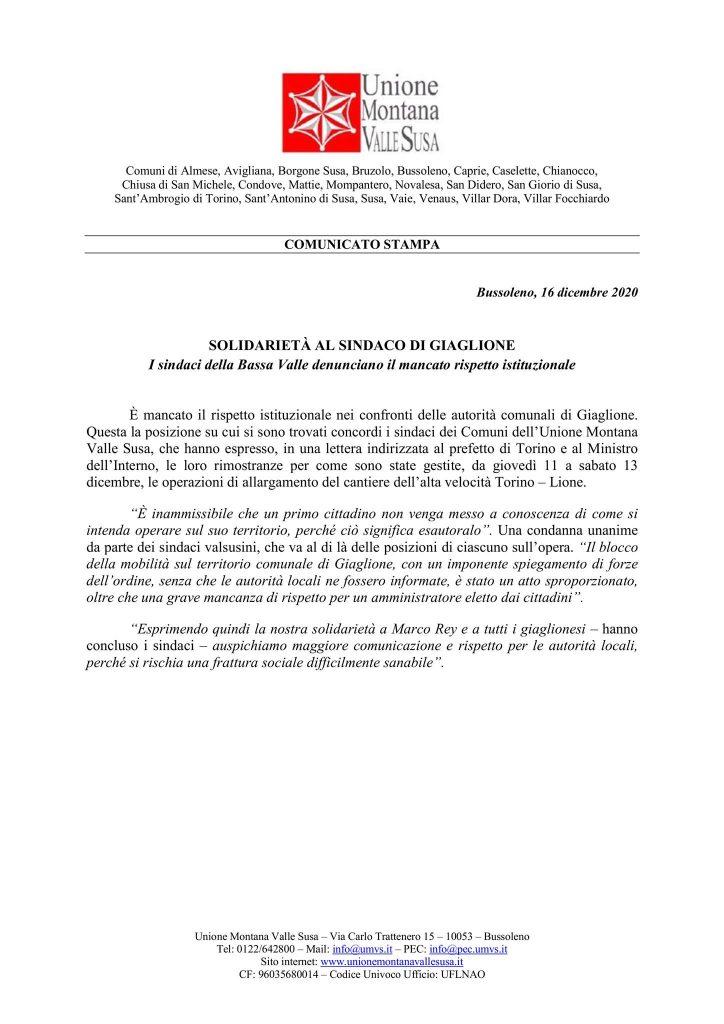 L'unione Montana Valle Susa esprime solidarietà al sindaco di Giaglione!