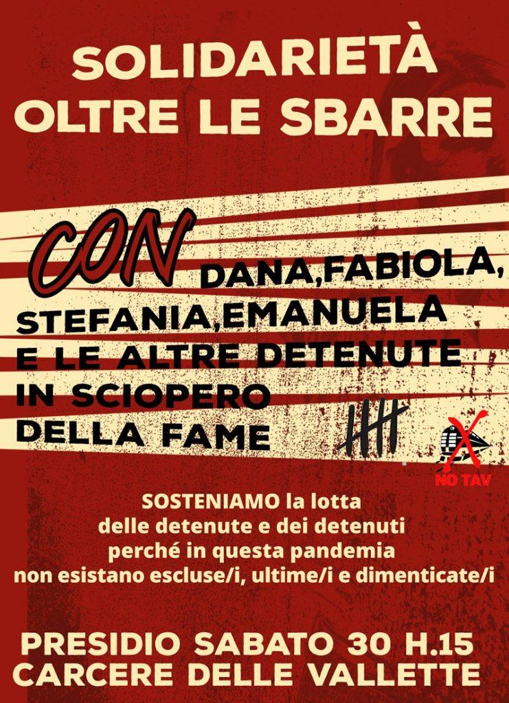 Solidarietà oltre le sbarre: sabato 30/01 h. 15 presidio sotto il carcere delle Vallette