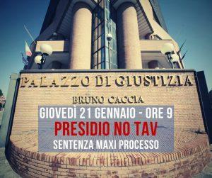 Giovedì 21/01 : sentenza Maxi Processo No Tav. Presidio sotto il Tribunale di Torino.