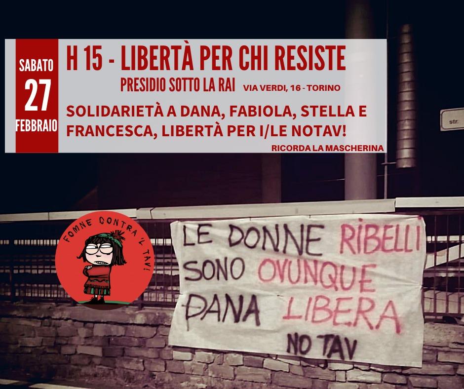 """Sabato 27/02 """"Libertà per chi resiste!"""" Presidio di solidarietà sotto la Rai"""