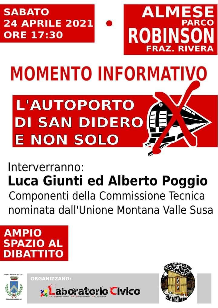 Sabato 24/04 MOMENTO INFORMATIVO NO TAV sui lavori del Nuovo Autoporto di San Didero e non solo!