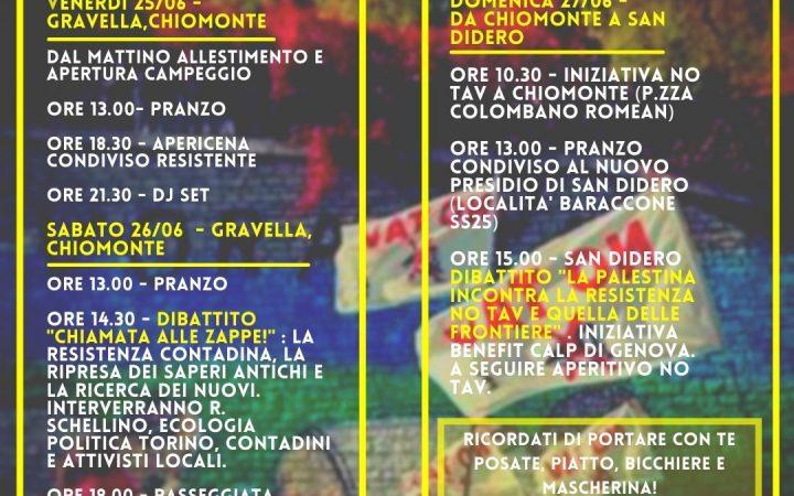 25-26-27/06 Chiomonte. Programma della tre giorni di lotta, musica e balli No Tav!