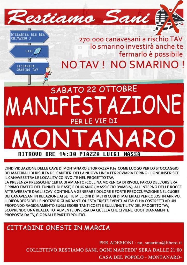 RESTIAMO SANI! manifestazione a Montanaro sabato 22 ottobre