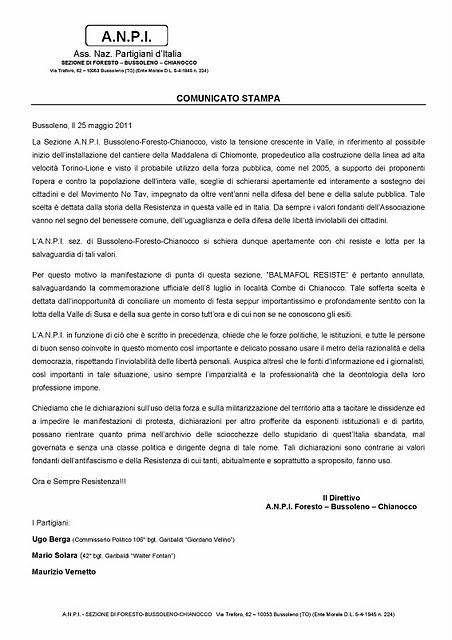 Presa di posizione dell'A.N.P.I. sez Bussoleno-Foresto-Chianocco